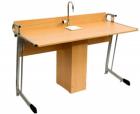 Стол ученический для кабинета химии с сантехникой, с бортиком